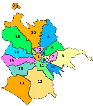 Maps of Rome boroughs, districts, municipi & areas