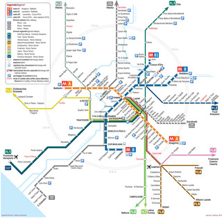 Map of Rome subway, tube & underground ATAC network
