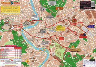 Map of Rome hop on hop off bus tour with City SightSeeing