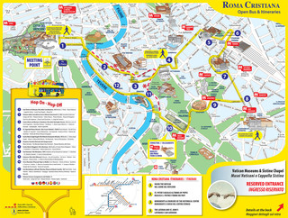 Map of Rome hop on hop off bus tour with Roma Cristiana